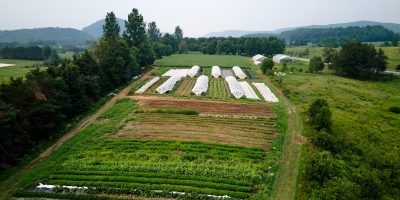Aerial view of a small-scale farm