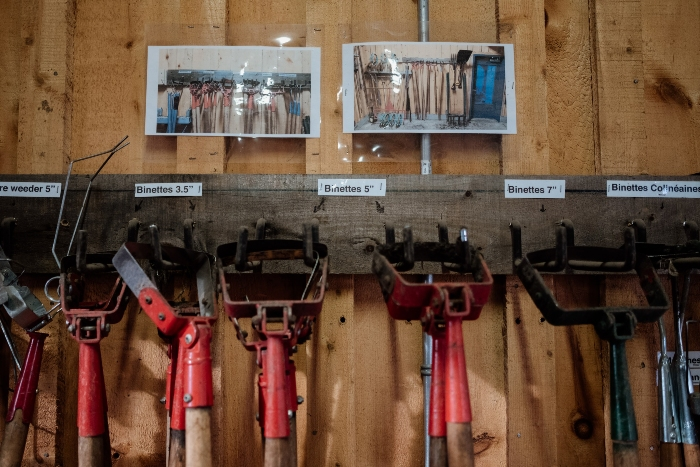 Well-organized stirrup hoes in a small-scale vegetable farm's toolshed. / Credit: Alex Chabot