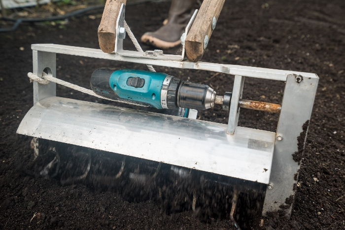The tilther is a lightweight battery-powered tiller designed to work the top two inches of a bed. /Credit: Alex Chabot