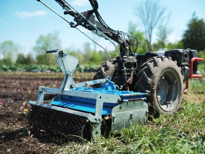 The power harrow is a 30 in wide attachment used to prepare uniform seedbeds. / Credit : Alex Chabot